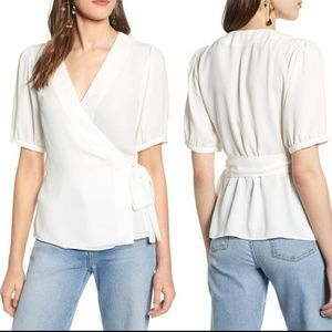 Halogen White Wrap Tie Blouse